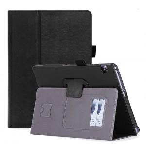 Чехол книжка подставка с рамочной защитой экрана, крепежом для стилуса, отсеком для карт и поддержкой кисти для Huawei MediaPad T3 10  Черный