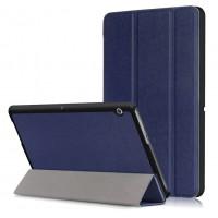 Сегментарный чехол книжка подставка на непрозрачной поликарбонатной основе для Huawei MediaPad T3 10  Синий