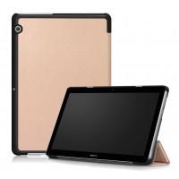 Сегментарный чехол книжка подставка на непрозрачной поликарбонатной основе для Huawei MediaPad T3 10  Бежевый