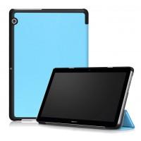 Сегментарный чехол книжка подставка на непрозрачной поликарбонатной основе для Huawei MediaPad T3 10  Голубой