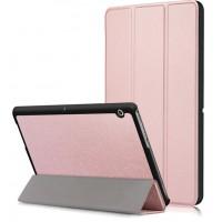 Сегментарный чехол книжка подставка на непрозрачной поликарбонатной основе для Huawei MediaPad T3 10  Розовый