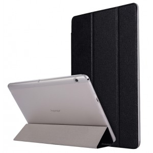 Сегментарный чехол книжка подставка текстура Золото на транспарентной поликарбонатной основе для Huawei MediaPad T3 10  Черный
