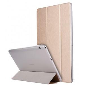 Сегментарный чехол книжка подставка текстура Золото на транспарентной поликарбонатной основе для Huawei MediaPad T3 10  Бежевый