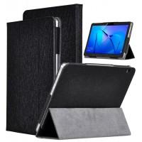 Сегментарный чехол книжка подставка текстура Золото с рамочной защитой экрана для Huawei MediaPad T3 10  Черный