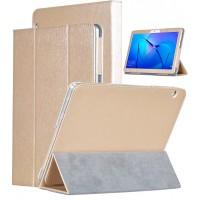 Сегментарный чехол книжка подставка текстура Золото с рамочной защитой экрана для Huawei MediaPad T3 10  Бежевый