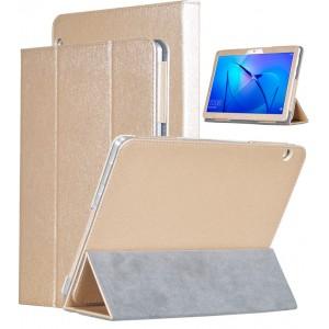Сегментарный чехол книжка подставка текстура Золото с рамочной защитой экрана для Huawei MediaPad T3 10