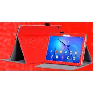 Чехол книжка подставка текстура Крокодил с рамочной защитой экрана и крепежом для стилуса для Huawei MediaPad T3 10