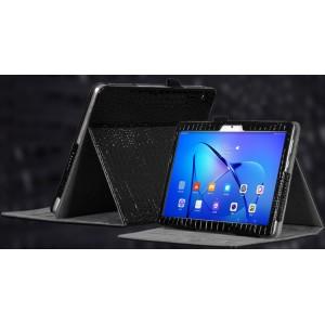 Чехол книжка подставка текстура Крокодил с рамочной защитой экрана и крепежом для стилуса для Huawei MediaPad T3 10  Черный