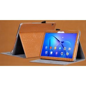 Чехол книжка подставка текстура Крокодил с рамочной защитой экрана и крепежом для стилуса для Huawei MediaPad T3 10  Коричневый