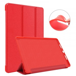 Сегментарный чехол книжка подставка на непрозрачной силиконовой основе для Ipad Pro 10.5 Красный
