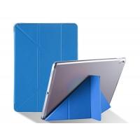 Оригами чехол книжка подставка на транспарентной силиконовой основе для Ipad Pro 10.5  Синий