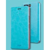 Винтажный чехол горизонтальная книжка подставка на силиконовой основе для Huawei Honor 9  Голубой