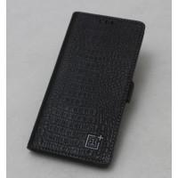Кожаный чехол горизонтальная книжка подставка текстура Крокодил с крепежной застежкой для OnePlus 5  Черный