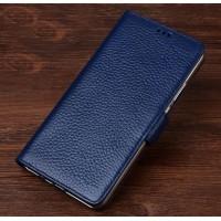 Кожаный чехол портмоне подставка (премиум нат. кожа) с крепежной застежкой для OnePlus 5  Синий