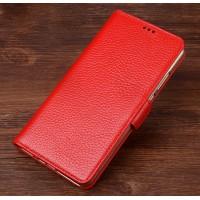 Кожаный чехол портмоне подставка (премиум нат. кожа) с крепежной застежкой для OnePlus 5  Красный