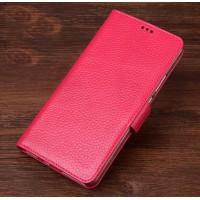 Кожаный чехол портмоне подставка (премиум нат. кожа) с крепежной застежкой для OnePlus 5  Пурпурный