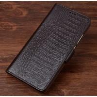 Кожаный чехол портмоне подставка (премиум нат. кожа крокодила) с крепежной застежкой для OnePlus 5  Коричневый