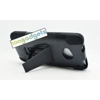 Силиконовый матовый непрозрачный чехол с поликарбонатными вставками с встроенной ножкой-подставкой для HTC One (M7) One SIM (Для модели с одной сим-картой) Черный