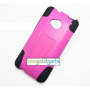 Силиконовый матовый непрозрачный чехол с поликарбонатными вставками с встроенной ножкой-подставкой для HTC One (M7) One SIM (Для модели с одной сим-картой) Пурпурный