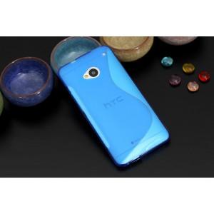 Силиконовый матовый полупрозрачный чехол с нескользящими гранями и дизайнерской текстурой S для HTC One (M7) One SIM (Для модели с одной сим-картой) Синий