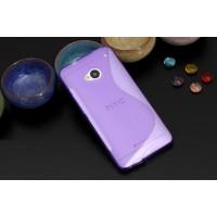 Силиконовый матовый полупрозрачный чехол с нескользящими гранями и дизайнерской текстурой S для HTC One (M7) One SIM (Для модели с одной сим-картой) Фиолетовый