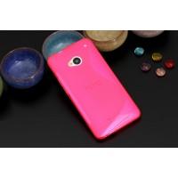 Силиконовый матовый полупрозрачный чехол с нескользящими гранями и дизайнерской текстурой S для HTC One (M7) One SIM (Для модели с одной сим-картой) Розовый