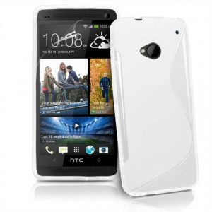 Силиконовый матовый полупрозрачный чехол с нескользящими гранями и дизайнерской текстурой S для HTC One (M7) One SIM (Для модели с одной сим-картой) Белый
