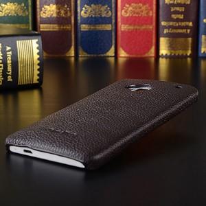 Кожаный чехол накладка Back Cover для HTC One (М7) One SIM (Для модели с одной сим-картой) Коричневый