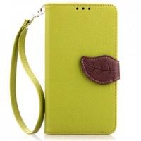Чехол горизонтальная книжка подставка на силиконовой основе с отсеком для карт на дизайнерской магнитной защелке для HTC One (M7) One SIM (Для модели с одной сим-картой) Зеленый