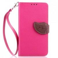 Чехол горизонтальная книжка подставка на силиконовой основе с отсеком для карт на дизайнерской магнитной защелке для HTC One (M7) One SIM (Для модели с одной сим-картой) Пурпурный