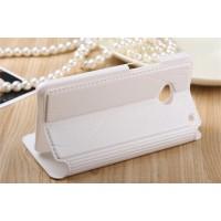 Чехол горизонтальная книжка подставка на пластиковой основе с окном вызова и полоcой свайпа для HTC One (M7) One SIM (Для модели с одной сим-картой) Белый