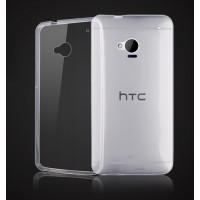 Силиконовый глянцевый транспарентный чехол для HTC One (M7) One SIM (Для модели с одной сим-картой)