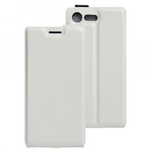 Чехол вертикальная книжка на силиконовой основе с отсеком для карт на магнитной защелке для Sony Xperia X Compact  Белый