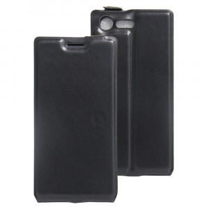 Чехол вертикальная книжка на силиконовой основе с отсеком для карт на магнитной защелке для Sony Xperia X Compact  Черный
