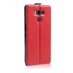 Чехол вертикальная книжка на силиконовой основе с отсеком для карт на магнитной защелке для Elephone P9000  Красный