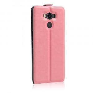 Чехол вертикальная книжка на силиконовой основе с отсеком для карт на магнитной защелке для Elephone P9000  Розовый