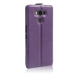 Чехол вертикальная книжка на силиконовой основе с отсеком для карт на магнитной защелке для Elephone P9000  Фиолетовый