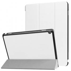 Сегментарный чехол книжка подставка на непрозрачной поликарбонатной основе для Huawei MediaPad M3 Lite 10  Белый