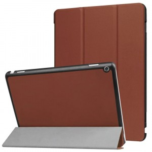Сегментарный чехол книжка подставка на непрозрачной поликарбонатной основе для Huawei MediaPad M3 Lite 10  Коричневый