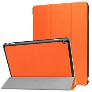 Сегментарный чехол книжка подставка на непрозрачной поликарбонатной основе для Huawei MediaPad M3 Lite 10  Оранжевый