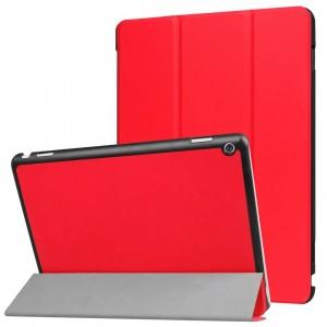 Сегментарный чехол книжка подставка на непрозрачной поликарбонатной основе для Huawei MediaPad M3 Lite 10  Красный