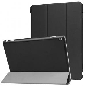 Сегментарный чехол книжка подставка на непрозрачной поликарбонатной основе для Huawei MediaPad M3 Lite 10  Черный