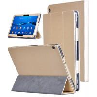 Сегментарный чехол книжка подставка текстура Золото с рамочной защитой экрана для Huawei MediaPad M3 Lite 10 Бежевый