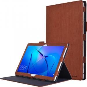 Чехол книжка подставка с рамочной защитой экрана, крепежом для стилуса и тканевым покрытием для Huawei MediaPad M3 Lite 10  Коричневый