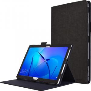 Чехол книжка подставка с рамочной защитой экрана, крепежом для стилуса и тканевым покрытием для Huawei MediaPad M3 Lite 10  Черный