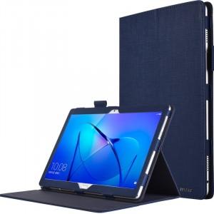 Чехол книжка подставка с рамочной защитой экрана, крепежом для стилуса и тканевым покрытием для Huawei MediaPad M3 Lite 10  Синий