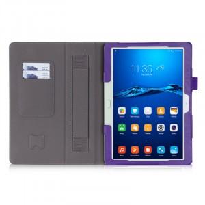 Чехол книжка подставка с рамочной защитой экрана, крепежом для стилуса, отсеком для карт и поддержкой кисти для Huawei MediaPad M3 Lite 10