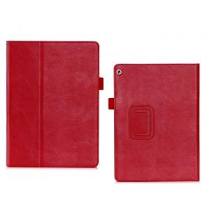 Чехол книжка подставка с рамочной защитой экрана, крепежом для стилуса, отсеком для карт и поддержкой кисти для Huawei MediaPad M3 Lite 10  Красный