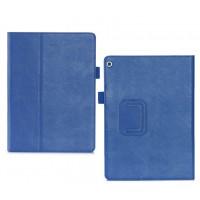 Чехол книжка подставка с рамочной защитой экрана, крепежом для стилуса, отсеком для карт и поддержкой кисти для Huawei MediaPad M3 Lite 10  Синий
