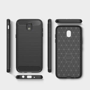 Силиконовый матовый непрозрачный чехол с текстурой Металлик для Samsung Galaxy J7 (2017)